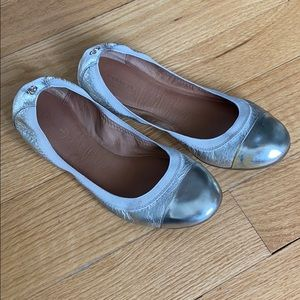 Coach Dalia Gold & Metallic Leather Ballet Flats